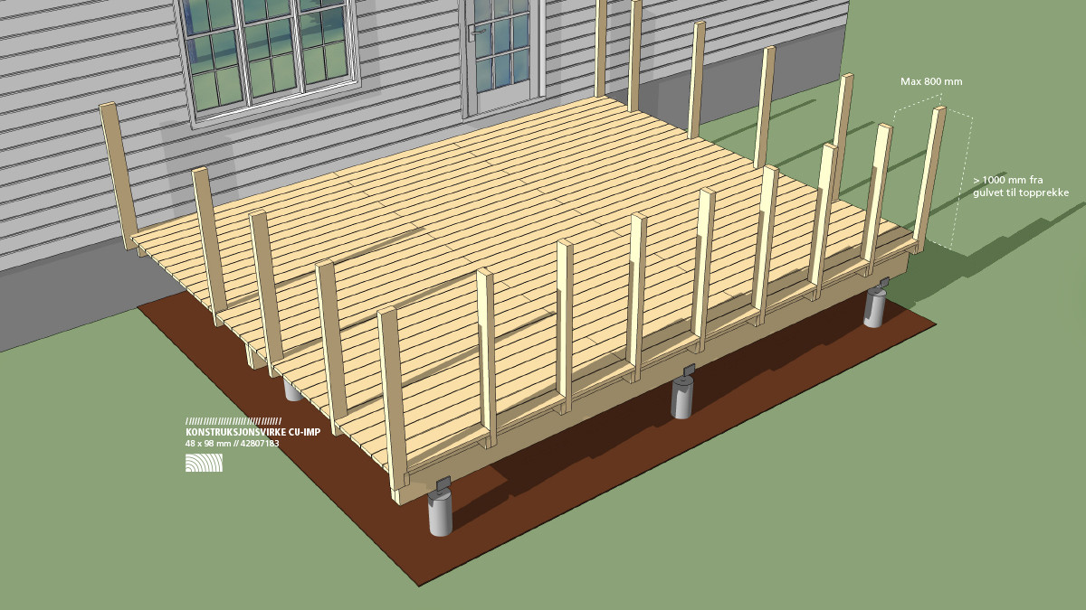 Høyde rekkverk veranda